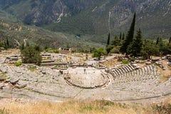 古老剧院在Delfi,希腊 库存图片