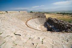 古老剧院在Pamukkale (古老Hierapolis),土耳其 免版税图库摄影