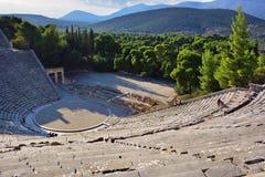 古老剧院Epidavros, Argolida,希腊 免版税库存照片