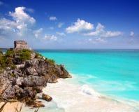 古老加勒比玛雅废墟tulum绿松石 免版税库存照片
