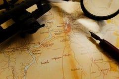 古老加尔各答印度地图黑暗口气 库存图片