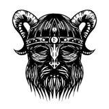 古老北欧海盗头例证 免版税库存照片