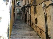 古老区在希罗纳,卡塔龙尼亚,西班牙 图库摄影