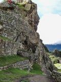 古老印加人市的看法马丘比丘 免版税库存照片