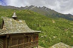 古老印度寺庙在高空山地区 库存图片