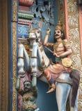 古老印度寺庙的装饰的片段 斯里南卡 库存图片