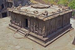 古老印度岩石寺庙 免版税图库摄影