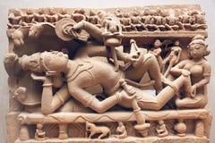 古老印度石雕刻 库存图片