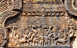 古老印度神石头柬埔寨艺术  古老Khme 免版税图库摄影
