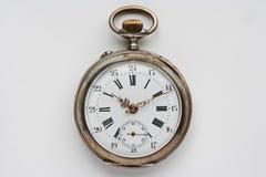 古老口袋银色手表 免版税库存照片