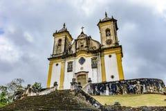 古老和年迈的历史教会高在市的几小山之一中欧鲁普雷图 图库摄影