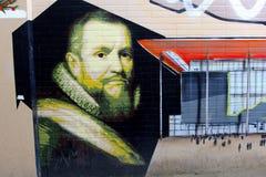 古老和现代街道艺术街道画,吕伐登,弗里斯,荷兰 免版税库存图片