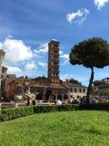 古老响铃塔在罗马 真相嘴 意大利 免版税库存照片