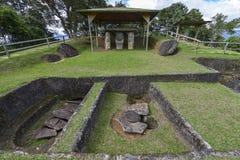 古老哥伦布发现美洲大陆以前雕象在San Agustin,哥伦比亚 免版税图库摄影