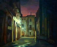 古老哥特式处所在巴塞罗那在晚上 向量例证