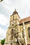 古老哥特式黑人教会在布拉索夫,罗马尼亚 古老欧洲建筑学在东欧 图库摄影