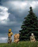 古老图象stepps向乌克兰人扔石头 图库摄影