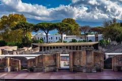 古老圆形剧场古色古香的场面在庞贝城,意大利 免版税库存图片