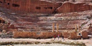 古老圆形剧场,约旦看法Petra的 图库摄影