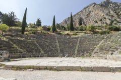 古老圆形露天剧场在特尔斐在希腊 免版税库存照片
