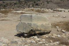 古老圣经的市的Lachish,今天Tel Lachish Castel墙壁和堡垒 免版税库存图片