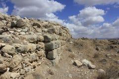 古老圣经的市的Lachish,今天Tel Lachish Castel墙壁和堡垒 图库摄影