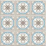 古老地板陶瓷砖 维多利亚女王时代的英国地板盖瓦设计,无缝的传染媒介样式 库存例证
