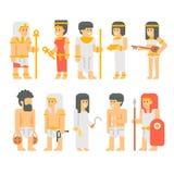 古老埃及人民集合动画片设计 免版税库存图片
