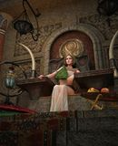 古老埃及女王/王后在王位屋子,3d CG 向量例证