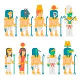 古老埃及神被设置的动画片设计 免版税库存照片