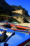 古老城堡海运西西里岛 免版税库存照片