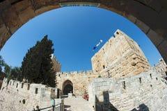 古老城堡fisheye耶路撒冷视图 免版税图库摄影