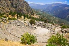 古老城市特尔斐希腊废墟 免版税库存照片