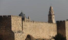 古老城市耶路撒冷老墙壁 免版税库存图片