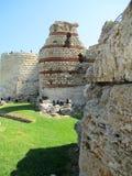 古老城楼在Nessebar,保加利亚 免版税图库摄影
