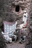古老基督徒东正教的教士lalibela的埃塞俄比亚 库存照片