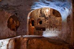 古老基督徒公墓(地下墓穴)圣保罗,马耳他 库存照片