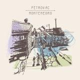 古老堡垒原始的乌贼属墨水略图在Petrovac Mo 库存例证