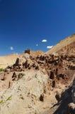 古老堡垒和佛教徒修道院(Gompa) Basgo谷的 图库摄影