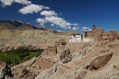 古老堡垒和佛教徒修道院Basgo谷的, Leh, 免版税库存图片