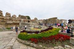 古老堡垒墙壁的废墟在内塞伯尔老镇的  图库摄影
