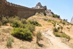 古老堡垒墙壁 库存图片