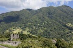 古老堡垒废墟在圣基茨希尔海岛上的  库存照片