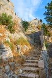 古老堡垒废墟在市的科托尔上,黑山 库存照片