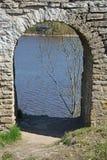 古老堡垒的废墟在Staraya拉多加 免版税库存图片