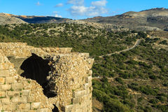古老堡垒,上部内盖夫加利利,以色列废墟  概念:旅行、历史和自然 库存照片