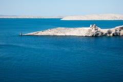 古老堡垒Fortica废墟在海岛Pag,克罗地亚上的 免版税库存照片