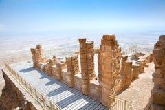古老堡垒Masada,以色列废墟  免版税图库摄影