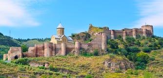 古老堡垒Narikala在第比利斯 库存图片