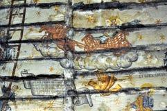古老墙壁上的壁画在罗马尼亚 图库摄影